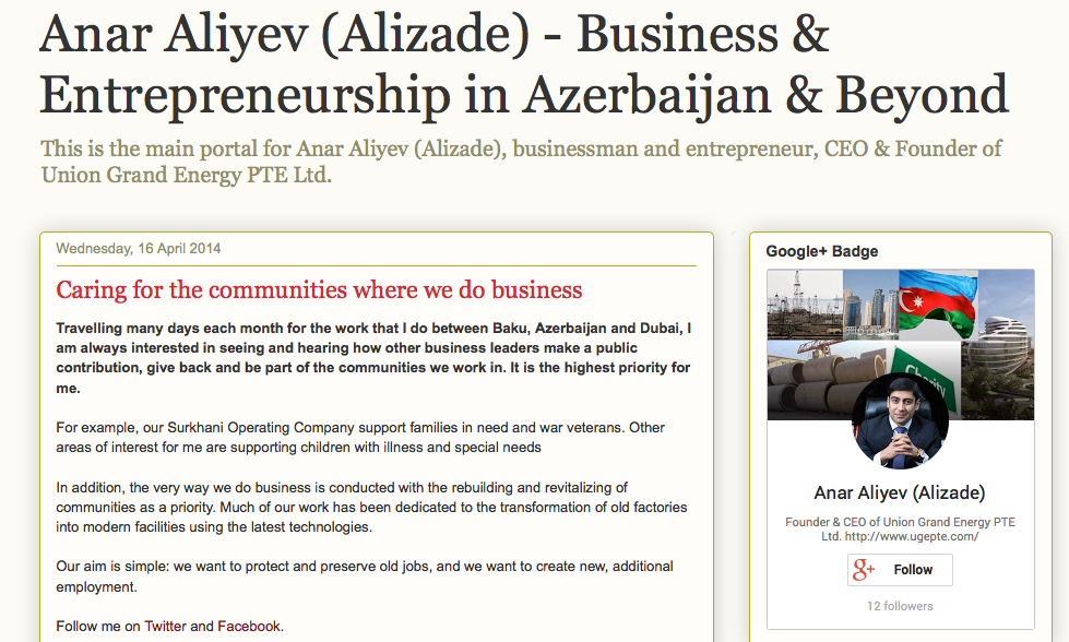 Anar Aliyev (Alizade) notes public contributions of business leaders important