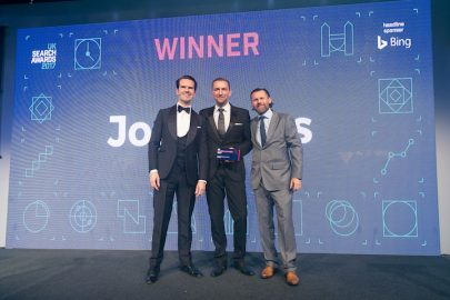 Jon Myers Accepting Award UK Search Awards