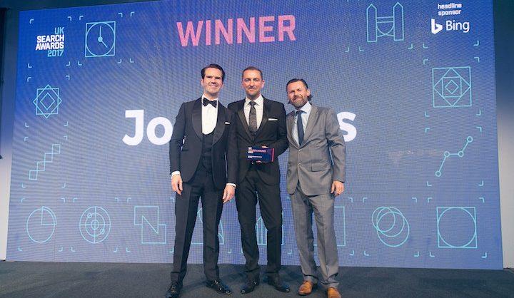 Jon Myers Accepting Award UK Search Awards