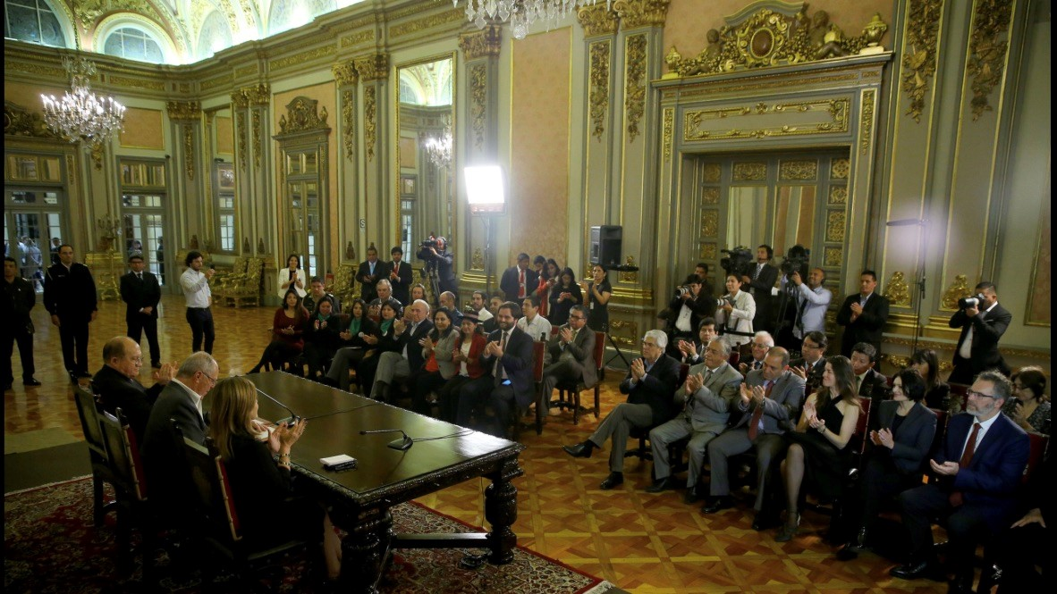 Richard Zwicky CEO of Plena Global Inc and associates present at the Presidential Palace in Lima Peru for the signing of the Act legalizing medical cannabis in November 2017